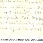Lorne Pierce to Edith Chown. 5 March 1913. QUA, Locator 2001.2, Box 1, File 7