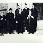 Department of English, 1916. James Cappon is second from the left; Wilhelmina Gordon, the first female faculty member of the Department of English, and the first female faculty member at Queen's, is on the right.