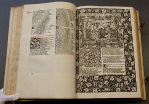 Geoffrey Chaucer, -1400. The works of Geoffrey Chaucer, now newly imprinted. [Hammersmith, William Morris, [1896]. Edited by F.S. Ellis; ornamented with pictures designed by Sir Edward Burne-Jones, and engraved on wood by W.H. Hooper. Printed by William Morris at the Kelmscott Press, Upper Mall, Hammersmith, May, 1896..