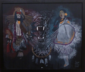 Painting of dancers, bear and dreamcatcher