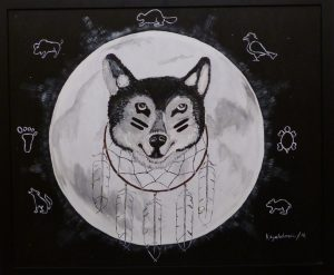 Painting: a wolf in front of the moon