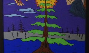 Paiting: a tree grows on a turtle