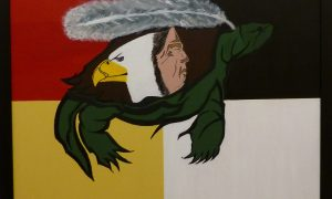 Painting: Turtle supporting an Elder, Eagle and feather.