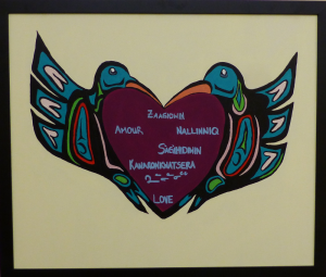 Painting: two hummingbirds and heart